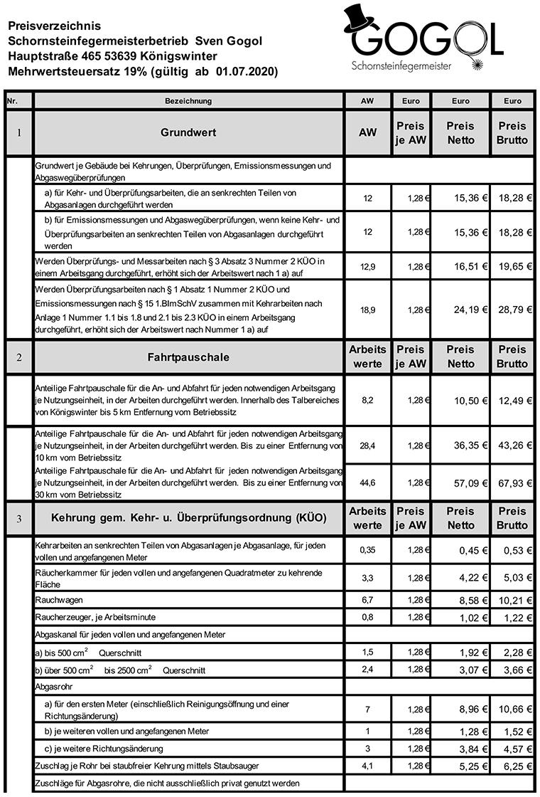 Preisliste-Gogol-Schornsteinfeger-Koenigswinter ab 07.2020