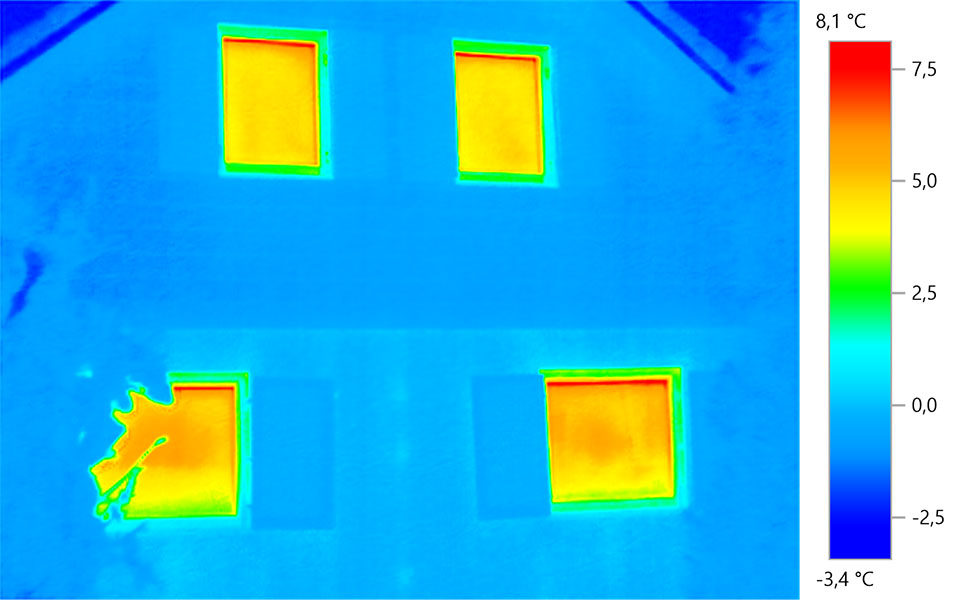 Thermografieaufnahmen Königswinter - Gebäude, rechter Giebel