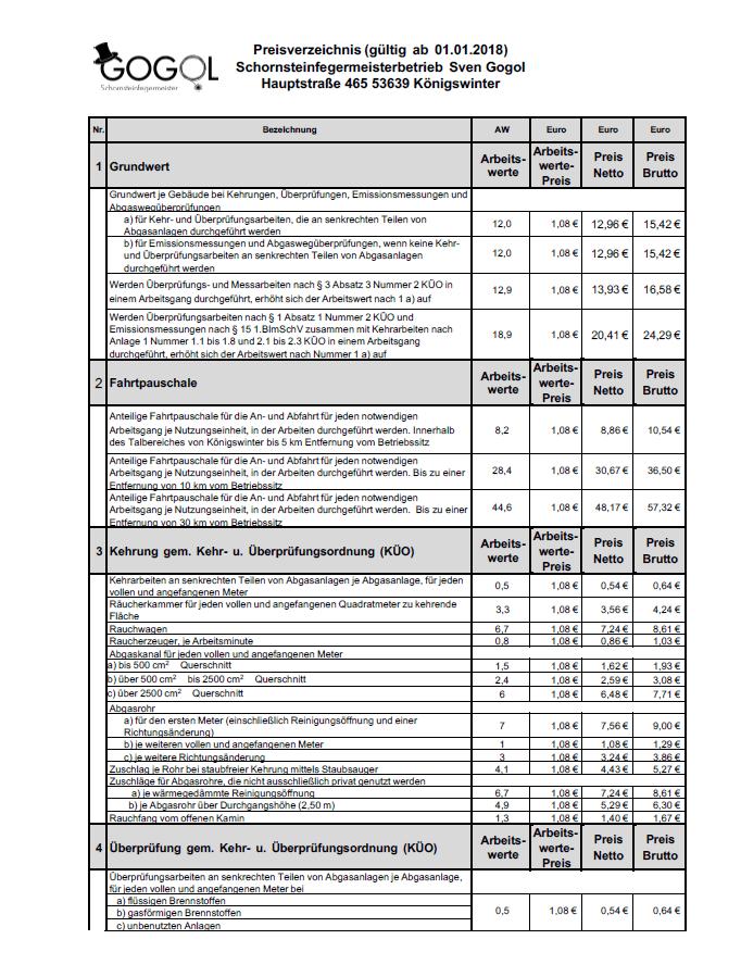 Preisverzeichnis Schornsteinfegermeister Sven Gogol